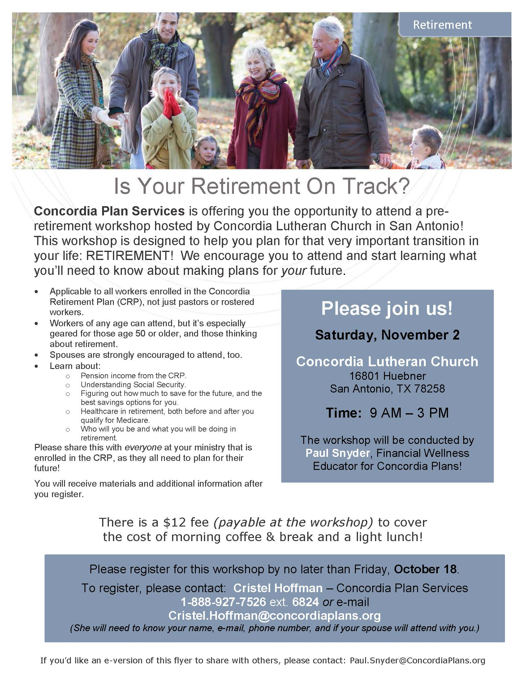 Concordia Plan Services Pre-Retirement Workshop – The Texas